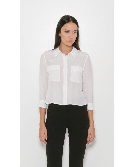 Equipment | White Slim Signature Short Sleeve Silk Shirt | Lyst