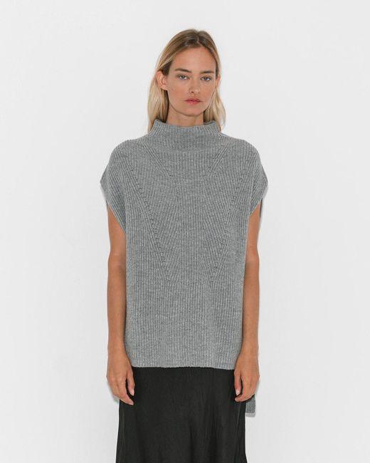 Organic By John Patrick - Gray Grey Melange Sleeveless Veste - Lyst