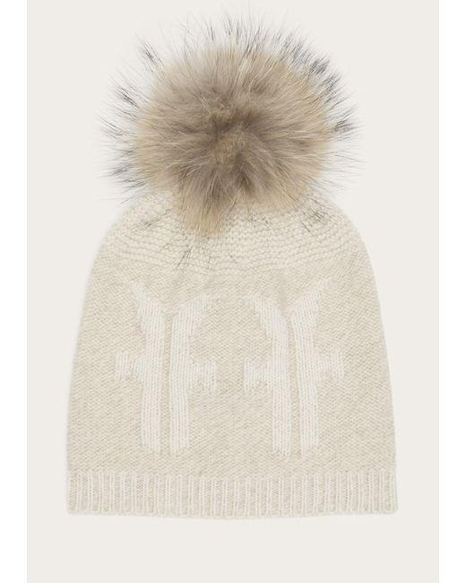 Frye - White Women's Logo Pom Hat - Lyst