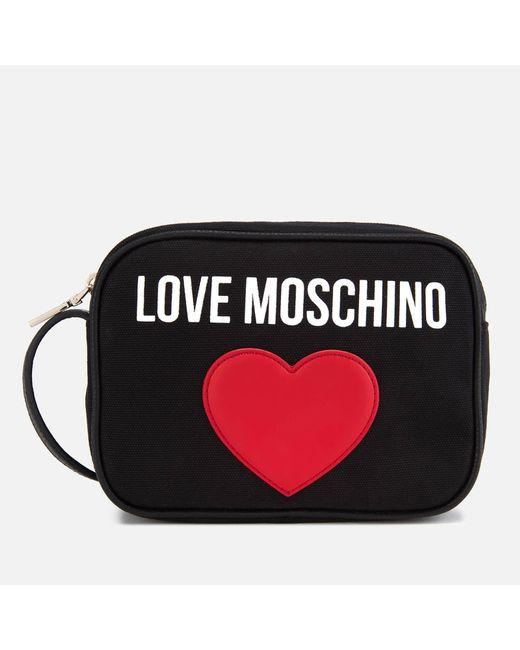 Love Moschino - Black Canvas Heart Logo Cross Body Bag - Lyst ... 43ffee7356291