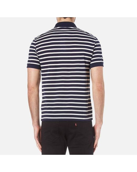 Lacoste men 39 s striped mini pique polo shirt in blue for for Lacoste stripe pique polo shirt