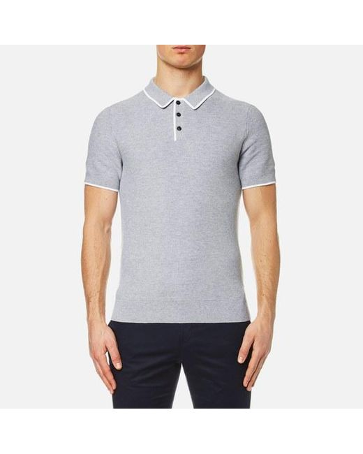 Michael Kors | Gray Men's Tuck Stitch Tip Polo Shirt for Men | Lyst