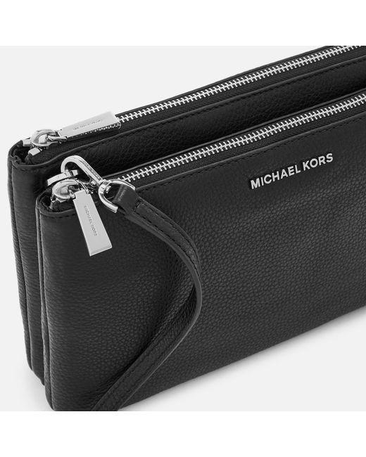 1ad3f7ad173f ... MICHAEL Michael Kors - Black Adele Double Zip Cross Body Bag - Lyst ...