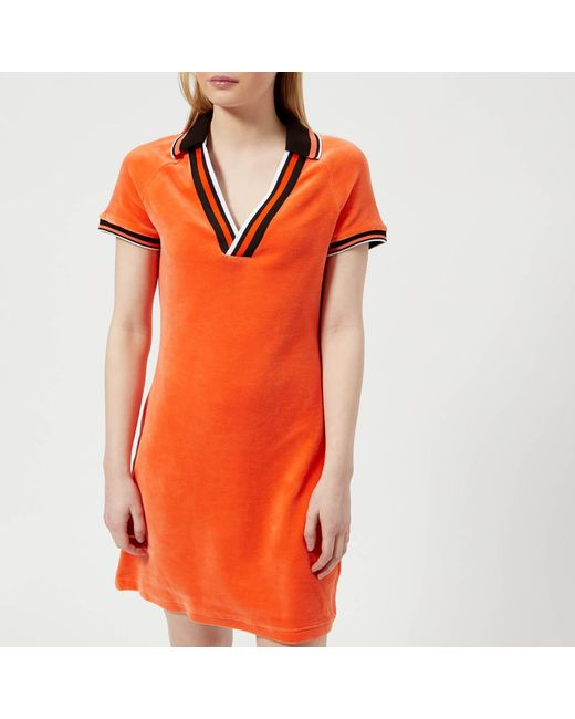 36436ccd07a3f Juicy Couture Stretch Velour Polo Dress in Orange - Save 45% - Lyst