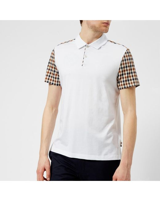 Aquascutum - White Rutland Vicuna Detail Short Sleeve Polo Shirt for Men - Lyst