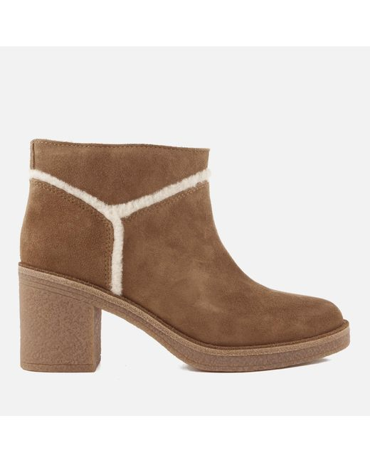 Ugg - Brown Kasen Suede Heeled Ankle Boots - Lyst