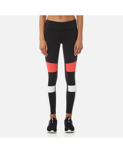 Reebok - Black Lux Colour Block Tights - Lyst