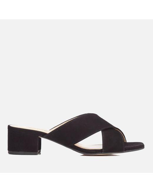 Dune | Black Junipar Suede Heeled Mule Sandals | Lyst