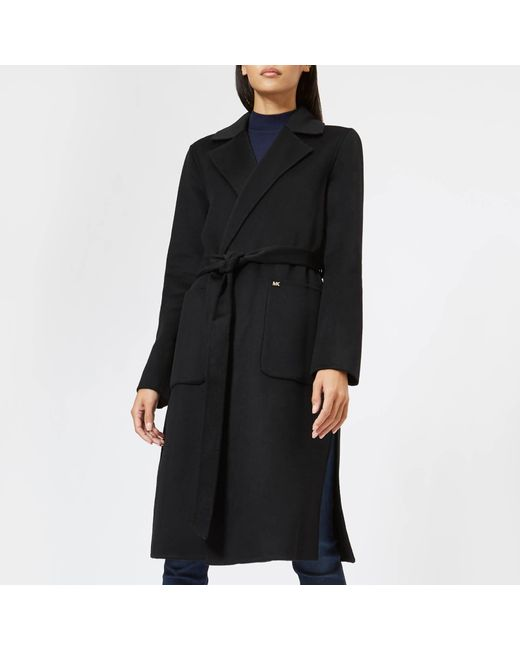 2dcc2567fd MICHAEL Michael Kors - Black Double Breasted Wool Coat - Lyst ...