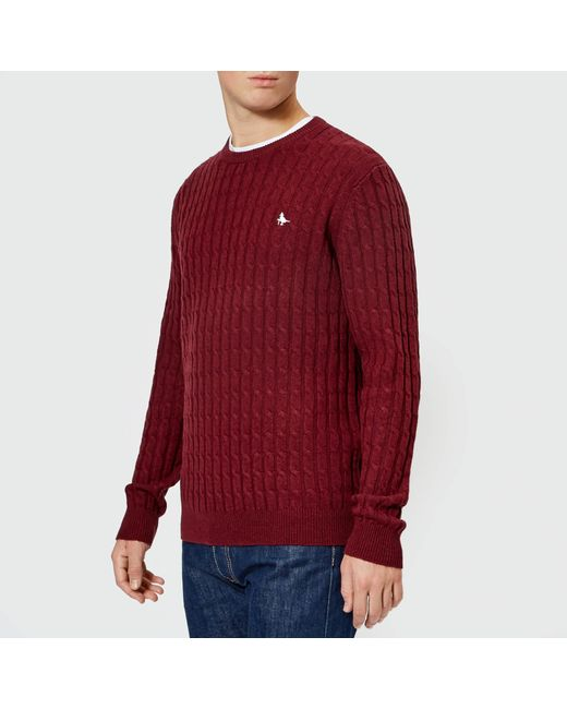 Jack Wills - Red Marlow Cable Crew Neck Jumper for Men - Lyst