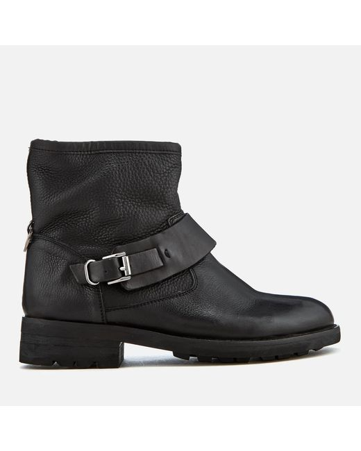 H by Hudson - Black Mac Leather Biker Boots - Lyst