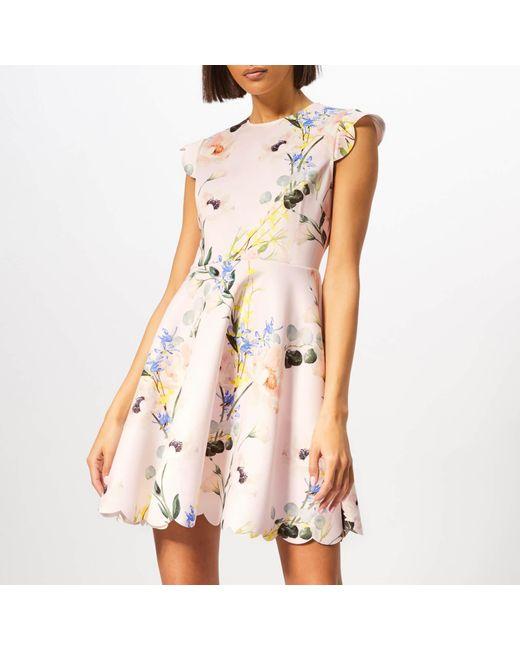 7ce187393d Ted Baker - Pink Karsali Elegance Scallop Skater Dress - Lyst ...