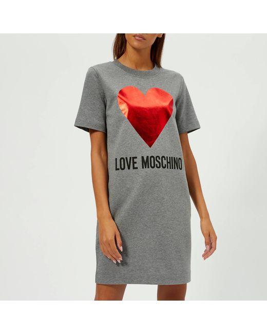 17c02665d74 Love Moschino - Gray Heart Logo T-shirt Dress - Lyst ...