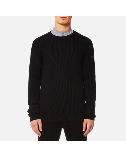 HUGO - Black Somael Rib Knit Jumper for Men - Lyst