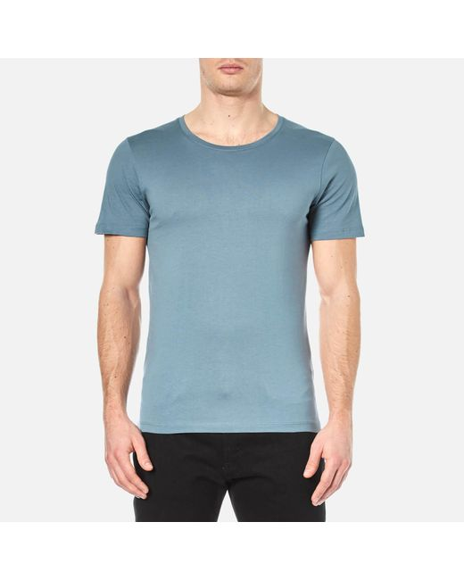 Selected dave pima cotton crew neck t shirt in blue for for Pima cotton crew neck t shirt