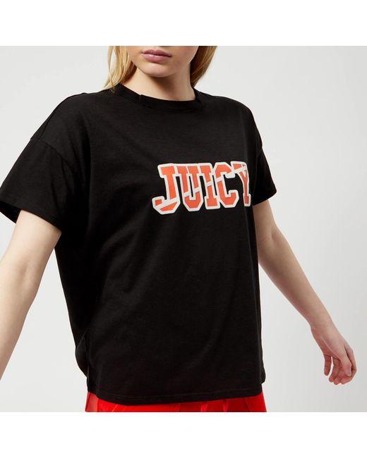 Juicy Couture - Black Juicy Logo Split Neck Graphic T-shirt - Lyst
