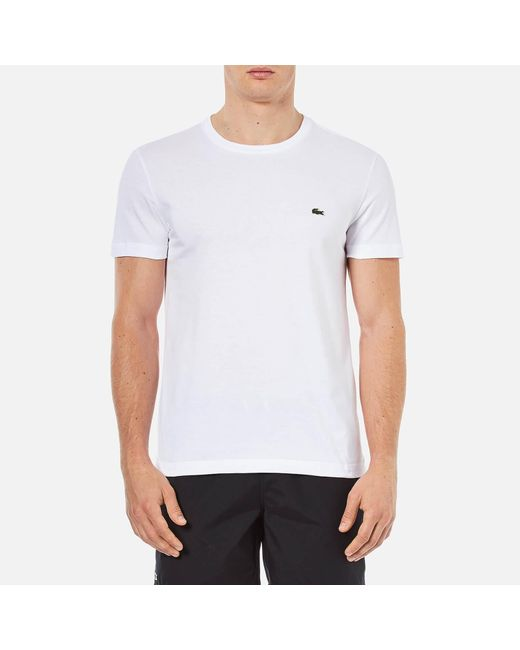 Lacoste - White Regular Fit Logo Crew Neck for Men - Lyst