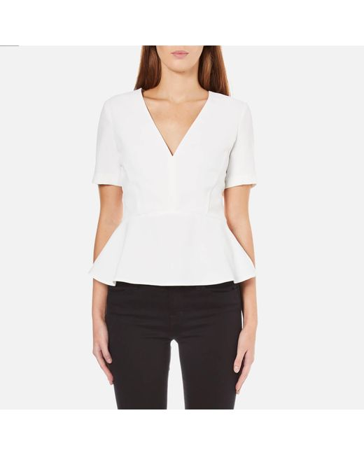French Connection   White Arrow Crepe Short Sleeve Top   Lyst
