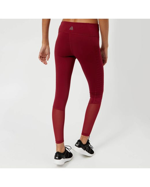 e1329d335c1a45 ... Reebok - Red Mesh Tights - Lyst ...