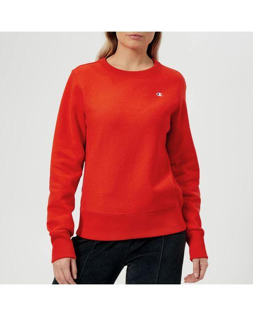 Champion - Orange Crew Neck Sweatshirt - Lyst