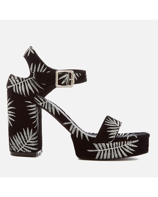 Sol Sana - Black Cathy Palm Embroidered Platform Heeled Sandals - Lyst