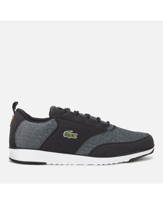 c17a6530c7cf64 Lacoste - Black Light 318 3 Textile Runner Style Trainers for Men - Lyst ...