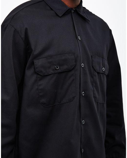 Dickies long sleeve work shirt black in black for men lyst for Black long sleeve work shirt