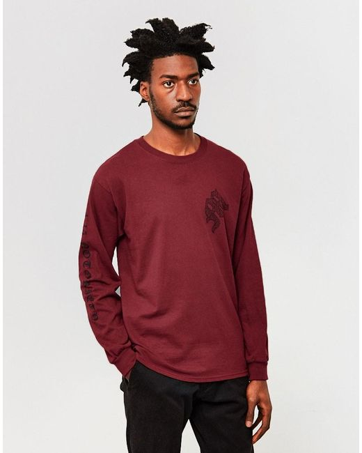 The Idle Man | Red Notoriety Long Sleeve T-shirt Burgundy for Men | Lyst