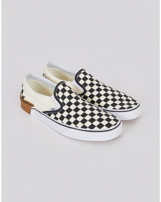 2d368cd3b41 Vans - Classic Slip On Plimsoll Black   White Checks With Gum Sole for Men  ...