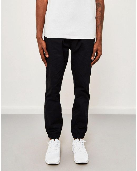The Idle Man | Cotton Elasticated Cuff Trouser Black for Men | Lyst