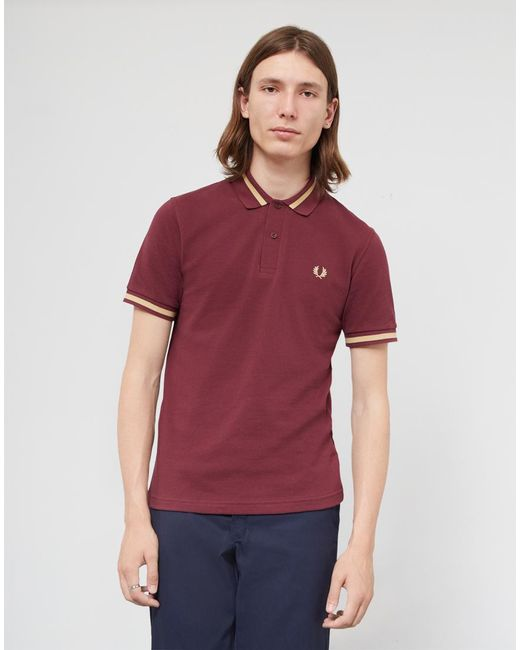 Fred Perry   Multicolor Made In England M2 Single Tipped Polo Shirt Burgundy for Men   Lyst
