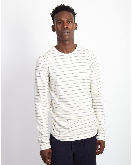 9ce0d0c71035 The Idle Man - Fine Stripe Long Sleeve Tshirt White for Men - Lyst ...