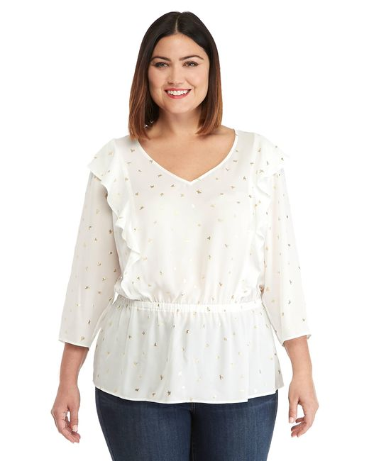 7dd5e08b554 The Limited - White Plus Size V-neck Ruffle Front Blouse - Lyst ...