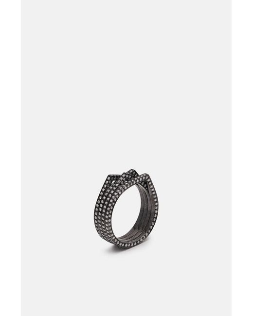 Repossi - Metallic 4 Rows Antifer Black Gold Pave Diamond Ring - Lyst