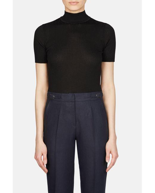 Une Heures - Black Short Sleeve Mock Neck Pullover - Lyst