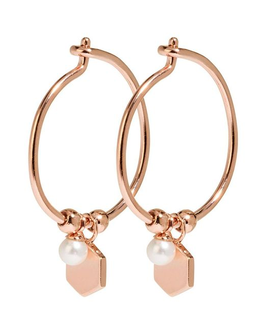 Cluse - Multicolor Essentiele Hexagon And Pearl Charm Hoop Earrings - Lyst