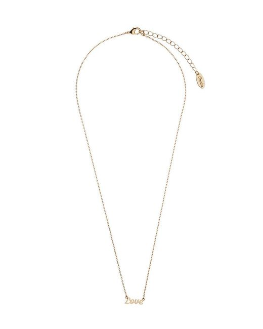 Orelia - Metallic Love Script Necklace - Lyst