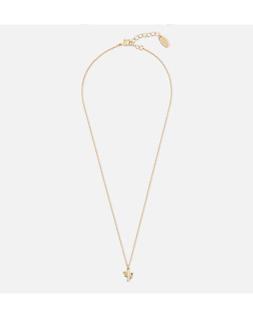 Orelia - Metallic Flower Cactus Charm Ditsy Necklace - Lyst
