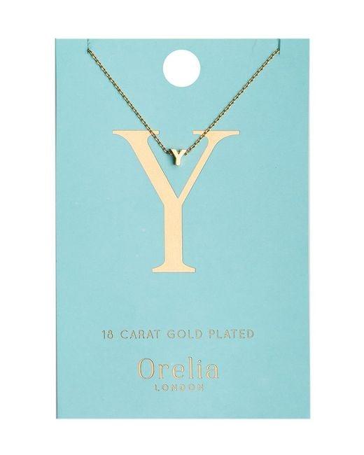 Orelia | Metallic Necklace Initial Y | Lyst
