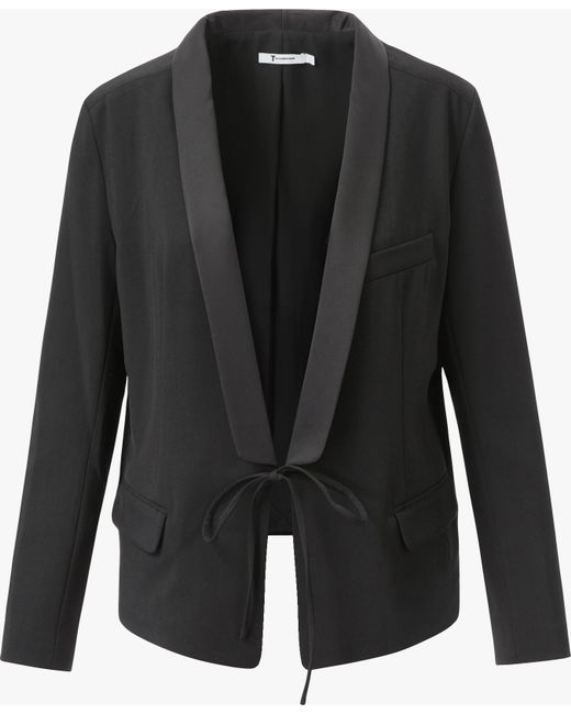 T By Alexander Wang   Black Front Tie Tux Blazer   Lyst