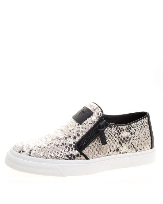 Giuseppe Zanotti - Gray Metallic Python Embossed Leather Eve Slip On Sneakers - Lyst