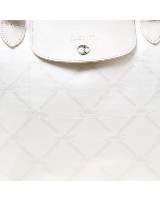 ... Longchamp - White  light Gold Logo Printed Coated Canvas Le Pliage Tote  - Lyst ... 7bc636bdde930