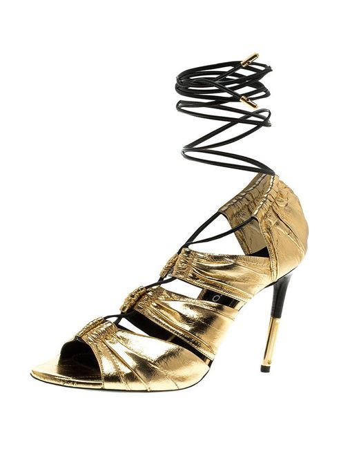 Tom Ford - Metallic Gold Leather Stardust Lace Up Cage Sandals - Lyst