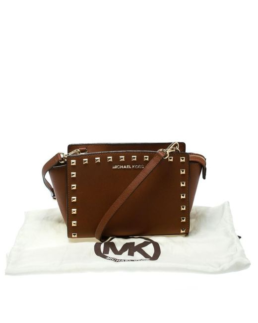 ... MICHAEL Michael Kors - Brown Leather Medium Studded Selma Crossbody Bag  - Lyst ... f4b1d10d50433
