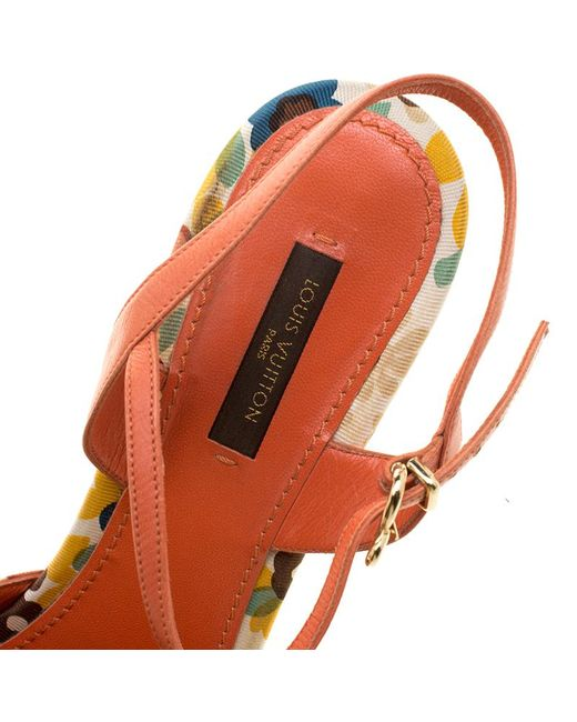 eea0e0ee80a43 ... Louis Vuitton - Orange Motif Printed Fabric And Leather Ankle Strap  Sandals - Lyst ...
