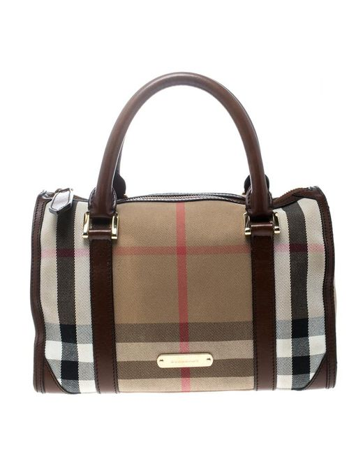 Burberry - Natural  brown House Check Canvas And Leather Boston Bag - Lyst  ... ddb843dc99