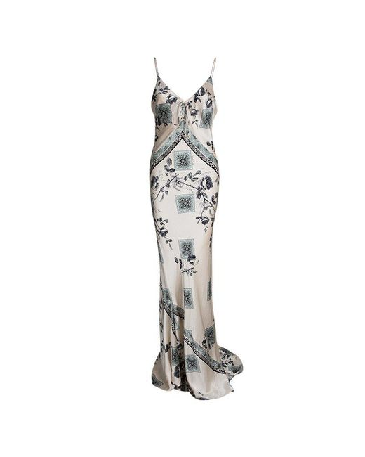 Roberto Cavalli - Pink Pale Silk Floral Print Sleeveless Maxi Dress M - Lyst