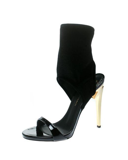 896bce2f35d Giuseppe Zanotti - Black Velvet patent Leather Alien G Heel Sandals - Lyst  ...