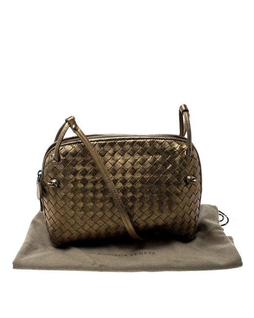 13ca4793c6 ... Bottega Veneta - Metallic Intrecciato Nappa Leather Crossbody Bag - Lyst  ...