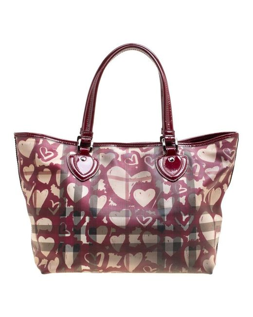 bd2b3e5e1a9b ... Burberry - Multicolor Burgundy Supernova Heart Check Coated Canvas And  Patent Leather Large Tote - Lyst ...